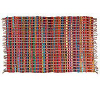 Multi-Stripe Rag Rug with Fringe