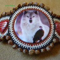 Rosette beaded Wolf with Eagle barrette