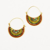 Crescent Moon Earrings, Green - The Afternoon