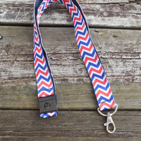 Chevron Ribbon, Red White and Blue Safety Breakaway Lanyard, ID Badge,Cell Phone, Key Holder