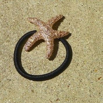 Beautiful Gold Star Fish Ponytail Holder with Black Elastic Band Beach Summer
