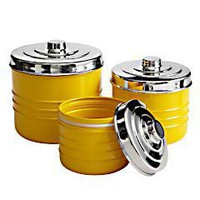 Round Yellow Metal Canisters