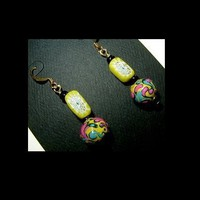 YELLOW SUMMER SWIRL Lightweight, Unique Handmade, Hand Painted, Dangle Earrings | whiteowldesigns - Jewelry on ArtFire