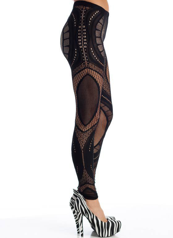 Patterned-lace-leggings BLACK - from GoJane | clothes/shoes