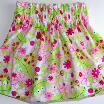 Pink toddler skirt frog and flower print  18 months - 5T