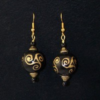 TRISKELION SPIRALS Gold on Black Dangle Earrings | whiteowldesigns - Jewelry on ArtFire