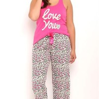 Plus Size Pajama Set with Love You Tank and Leopard Print Pants