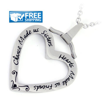 "Sister Gift - Heart Necklace Engraved with ""Chance Made us Sisters, Hearts Made us Friends"", 18"" Chains Included"