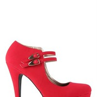 Platform Pump with 2 Buckled Mary Jane Straps