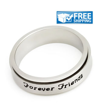 "Unisex Friend Gift - Spinner Friendship Ring Engraved with ""Forever Friends"", Sizes 6 to 9"