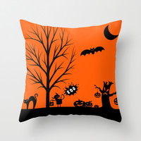 Halloween Boo Throw Pillow by TA DA 2