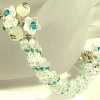 White and Teal Twist - Woven spiral handmade sterling silver bracelet | cserpent - Jewelry on ArtFire