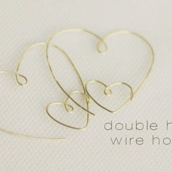 Handcrafted Gold Double Heart Wire Hoop Earring, Rose Gold Heart Hoop, Bridesmaids Earrings,