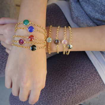 Gemstone Bracelet, Chalcedony, Ruby, Gold Bezel Gemstone Bracelet, Rose Quartz, Pyrite, Emerald, Smokey Quartz