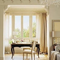 a cream chic study in the bay window