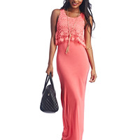 Lace Overlay Maxi Dress | Wet Seal