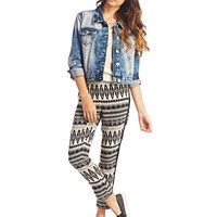 Tribal Print Striped Side Pants | Wet Seal