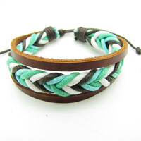 fashion Adjustable leather Cotton Rope Woven Bracelets mens bracelet cool bracelet jewelry bracelet bangle bracelet  cuff bracelet 861S