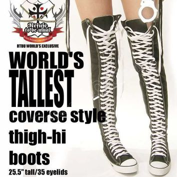 PUNK EMO Goth THIGH HIGH Canvas Lace Up Sneaker Boots