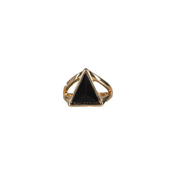 TRIANGLE STONE CUT OUT RING - BLACK