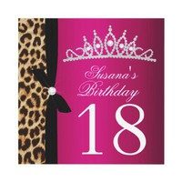 leopard hot pink 18th Birthday Invitation from Zazzle.com