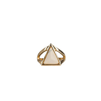 TRIANGLE STONE CUT OUT RING - WHITE
