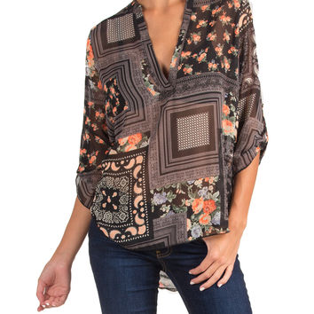 PAISLEY ROSES SHEER V-NECK TOP