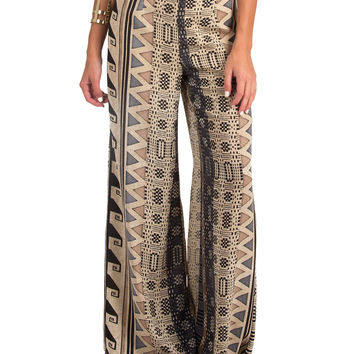 LUSH CLOTHING - GEOMETRIC SAFARI PRINT PALAZZO PANTS