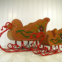 Vintage Matching Pair Hand Painted Wood & Red Enamel Metal Holiday Santa Sleds - Retro Decorative Christmas Large/Small Sleigh Gift Baskets