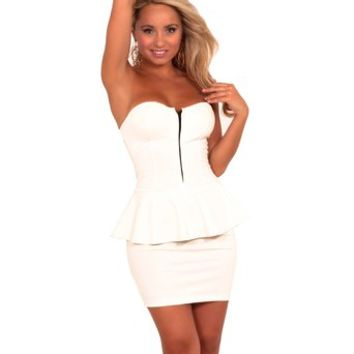 Zipper Front Strapless Sweetheart Bust Party Dress