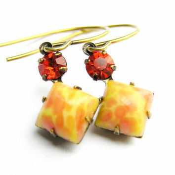 Autumn Sparkle Earrings,Orange, Yellow, Vintage Stone Earrings