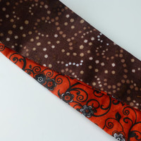 Brown Fabric Headband - Orange Cotton Fabric Headband - Reversible Headband for Women - Hippie Headband - Twirly Designs Teen Headband