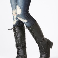 Black Faux Leather Knee High Length Combat Boots