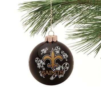 New Orleans Saints Candy Cane Traditional Ornament - Black