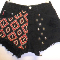 High Waist  Black  Denim Shorts Aztec Print  with Studs Waist 26   inch