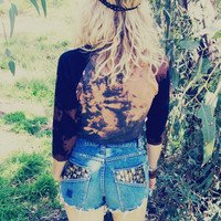 Crop Baseball Tee, Tie Dyed, Boho Hippie (S)
