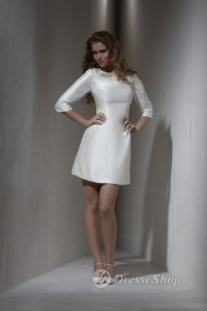 Sheath/Column Beteau Taffeta Middle Sleeve White Short/Mini Dress (XFSRDS037) at Dresseshop