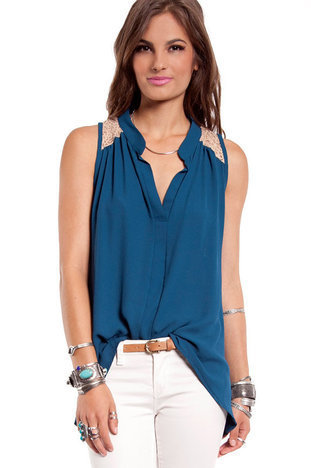 Cool Breeze Tank Top in Teal :: tobi