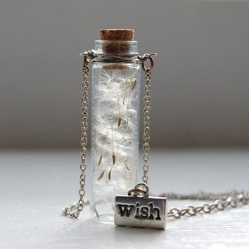 Winged Seeds of a Summer Flower Glass Bottle Necklace