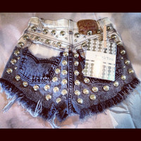 High waist destroyed black ombre denim shorts super frayed with US flag and studs size Sm