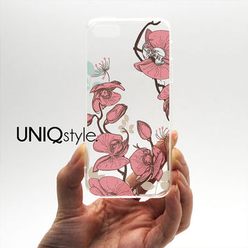 Orchid transparent clear case for iPhone 4/4s 5/5s 5c Samsung Note 3 / S4 / S5, floral flower case with tpu edge w/extra protection - N32