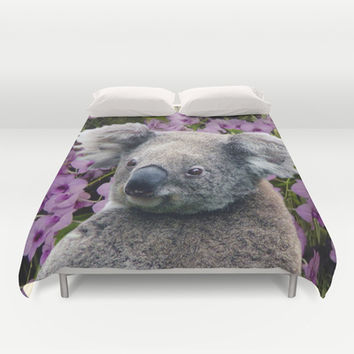Koala and Orchids Duvet Cover by Erika Kaisersot