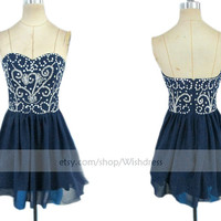Handmade Sweetheart Dark navy Homecoming Dress/ Cocktail Dress With Beads/ Short Homecoming Dress/ Short Prom Dress/ Formal Dress