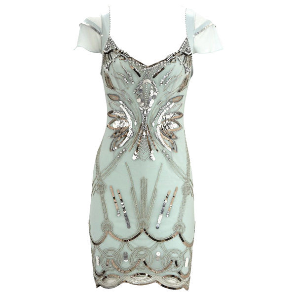 Bqueen Diamante Dress Green K153G