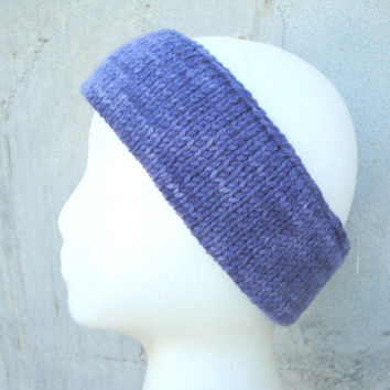 Knit Ear Warmer Headband, Size M/L, Mottled Purple, Merino Wool, Teens Women Men