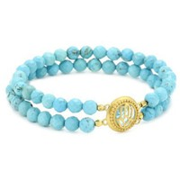 Satya Jewelry Turquoise Hamsa Double Stretch Bracelet - designer shoes, handbags, jewelry, watches, and fashion accessories | endless.com