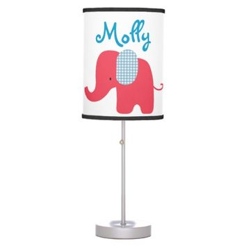 Red and Blue Baby Elephant Table Lamp
