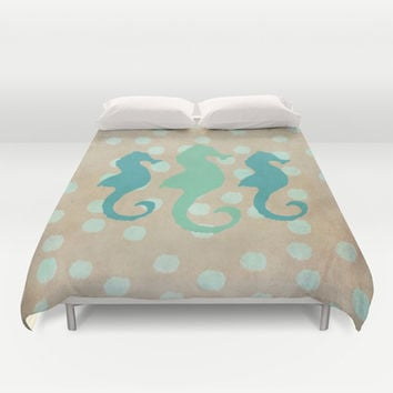 Seahorse Trio and Polka Dots Duvet Cover by Lisa Argyropoulos | Society6