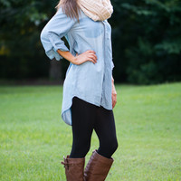 Tricked Out Top, Light Denim