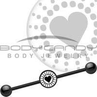 Black Illuminated Heart Industrial Barbell | Body Candy Body Jewelry